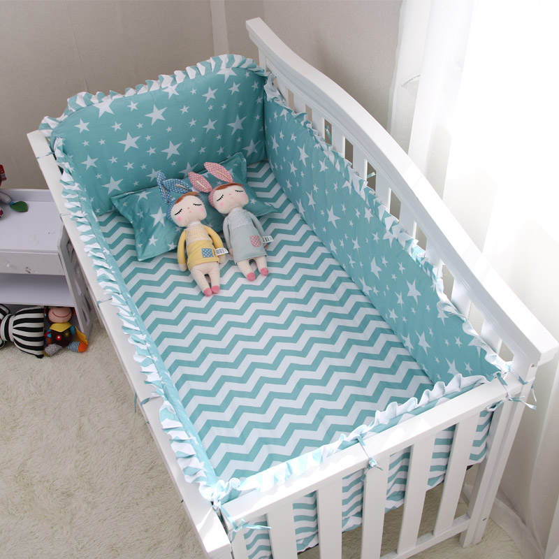 New Arrival Star Striped Crib Bed Linen Kit, Cotton Baby Bedding Set Includes Bumpers+Bed Sheet, Crib Bedding Set for Girl Boys contrast striped letter print bedding set