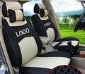 2 frente tampa de assento Para Ford Focus Fiesta S-MAX Kuga logotipo da empresa Bordado alfabeto ventile cinza vermelho Tampa de Assento Do Carro