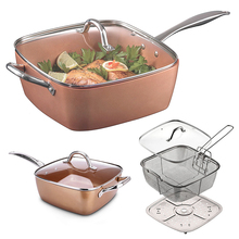 Wholesale 4-Piece Copper Plated Square Pan Non-stick Pan Glass Lid Fry Basket Steam 9.5 inches used in induction Cooking tools(China)