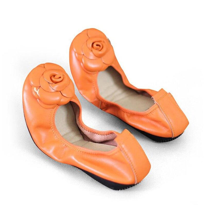 Brands Genuine leather Slip On Ballet Flats Shoes For Women Slip On Flowers Flat Shoes Women