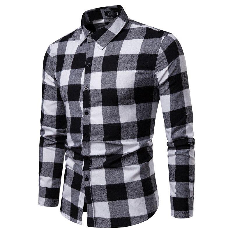 New Autumn Fashion Brand Men Clothes Slim Fit Men Long Sleeve Shirt Men Plaid Cotton Casual Men Shirt Social Plus Size S-2XL