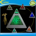 New Fashion Pyramid Temperature 7 Colors LED Change Backlight LED Alarm Clock