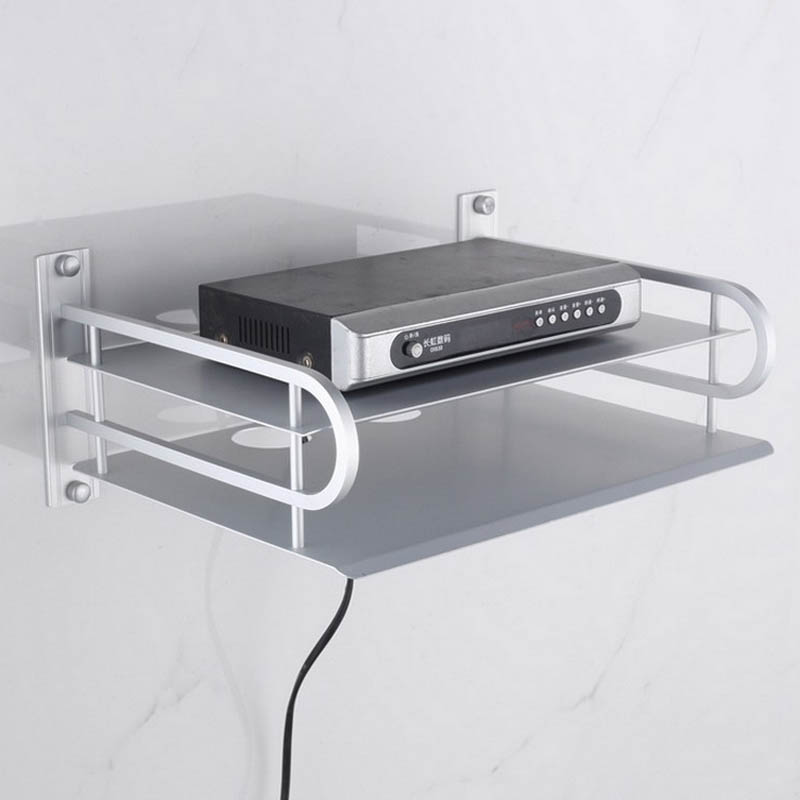 TV set top box holder bracket Double Space Aluminum Shelf For Storage Holders Racks
