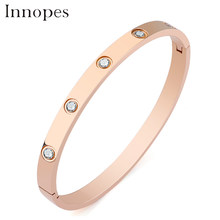 Innopes Bracelets for women circle cubic zirconia bracelets stainless steel bangle gold charm three color choose bijou gift(China)