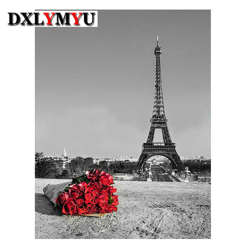 5D Vá Diy Kim Cương Tranh Cross Stitch Hùng Vĩ Tháp Eiffel Kim Cương Thêu Khoan vuông Trang Trí Nội Thất Red Rose