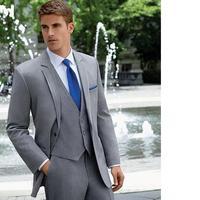 Custom made Man Fall Groom Grey SuitMale Slim Fit Suit Male Business Coat Fashion Formal Men(Jacket+Pants+vest)
