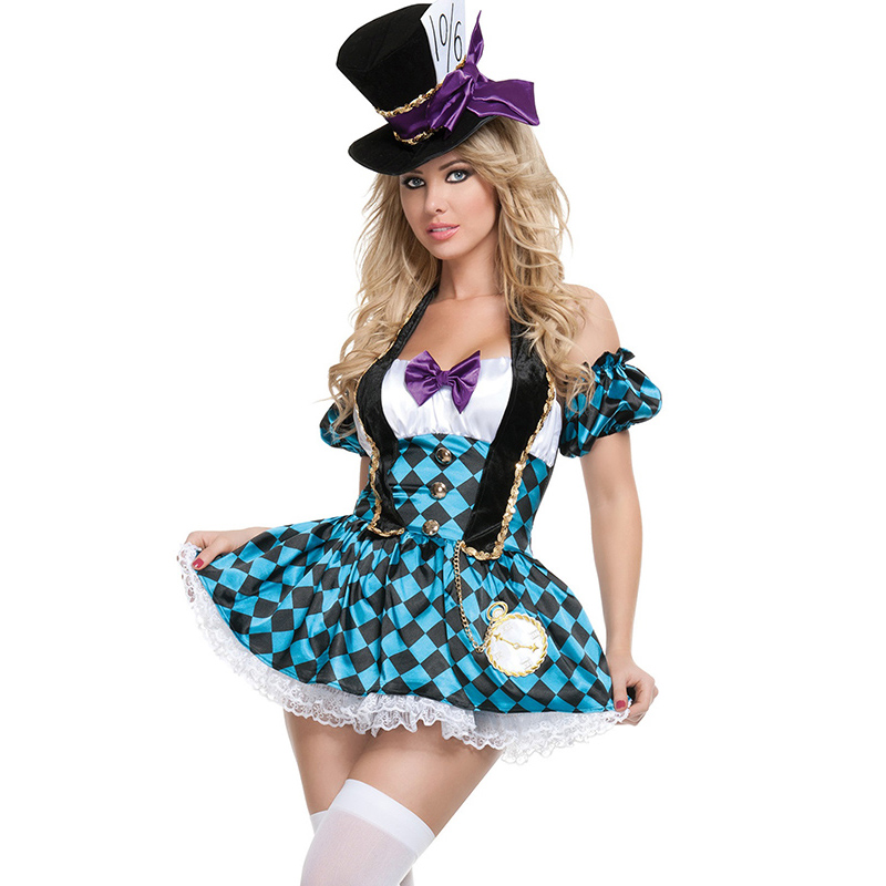 Alice in Wonderland Sexy Mad Hatter Costume Adults Women Lattice Fantasias Adulto Feminino Cosplay Halloween Carnival Costume