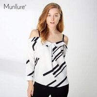 Munllure 2018 Spring Women Blouses Tops Sexy Off The Shoulder Women T Tee Shirt Femme White