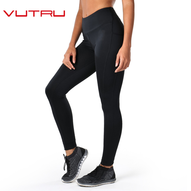 Vutru Для женщин штаны для йоги цвет: черный, синий спортивные Леггинсы Running Колготки для Для женщин Фитнес спортивные брюки V7LD029H