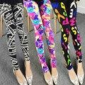 22 дизайн женщины брюки тонкий поножи цветок летние Тренировки леггинсы тонкий брюки эластичный спандекс легинсы брюки mallas