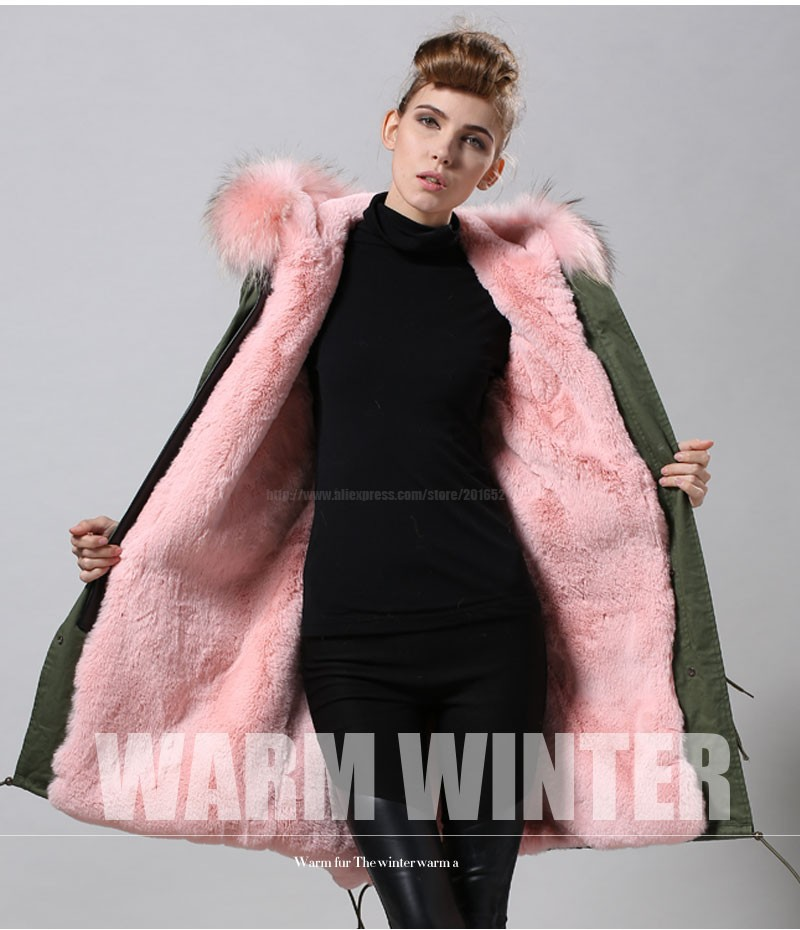 Factory wholesale price Women's Vintage Retro Fur Hooded Military Parka Jacket Coat with pink lined and collar fur mr 28