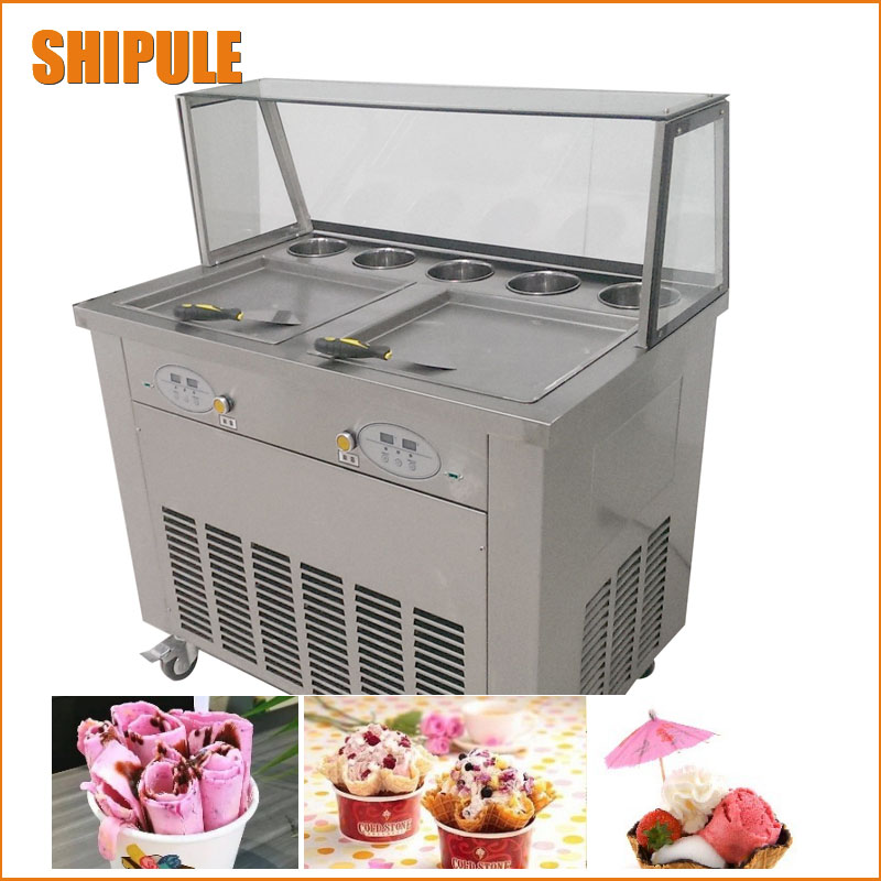 220v 50hz 60hz double pan fried ice cream machine 110v 60hz frying ice cream machine 2 compressor ice roll machine r410a cover double pressure ice frying machine double pan fried ice cream machine