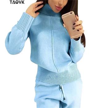 TAOVK zimowy wełniany dzianinowy ciepły garnitur sweter z wysokim kołnierzem + spodnie luźny dwuczęściowy zestaw dzianinowy tanie i dobre opinie REGULAR Pełna Women s Wool Suits Golfem Elastyczny pas COTTON Octan Wełna Pełnej długości Kobiety Swetry Na co dzień