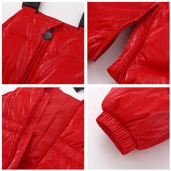 2019 新ブランドの冬のオーバーオール子供服 2-8Y の冬のコートの赤新年アヒルダウンジャケットガール防寒着パーカー