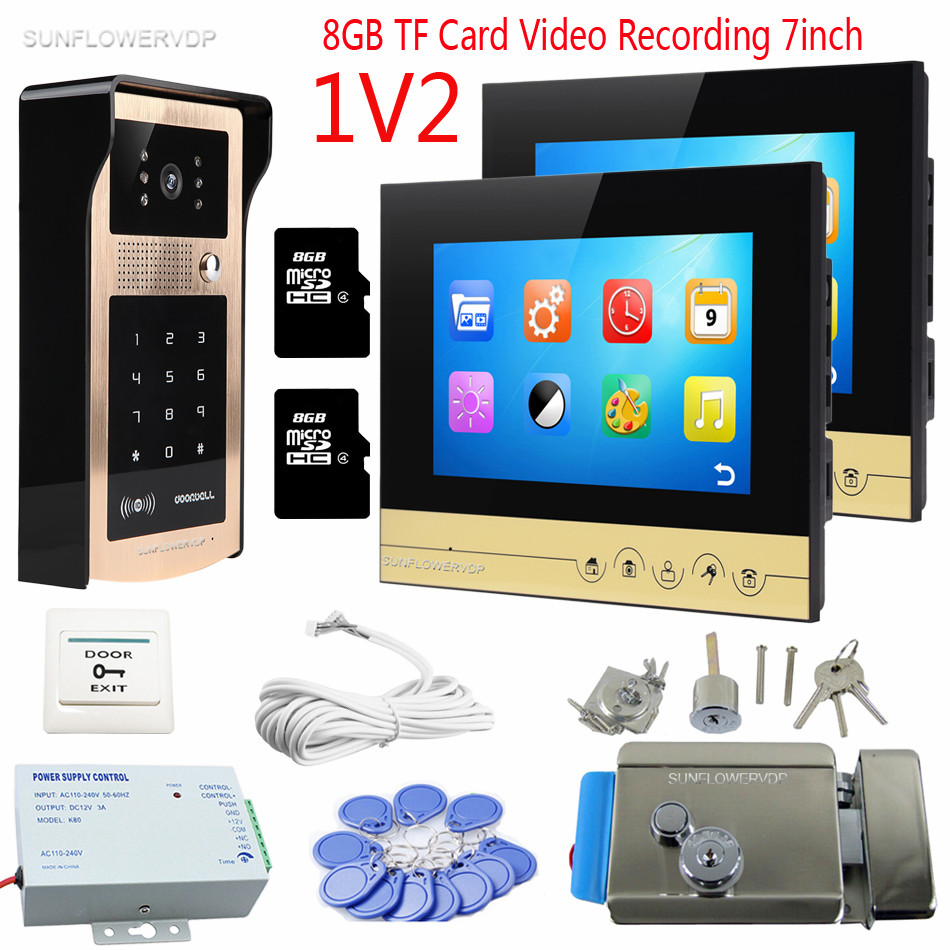 For 2 Apartment Video Doorphone Rfid Code Panel Doorbell Camera 8GB TF Memory Card Recording 7 Intercom For Home With Door Lock my apartment