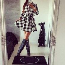 Hot Sale Fashion Casual Turn-Down Neck Mini Dresses Autumn Long Sleeve Sashes Dress Women Single Breasted Plaid