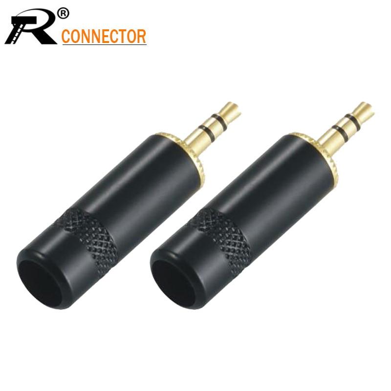 100pcs 3pole 3 5mm Jack Audio Gold Plated headphone Stereo plug 3 5 RCA Connectors plug