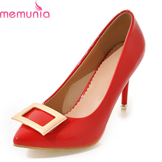 MEMUNIA plus size 34-45 2018 hot sale dress shoes stiletto high heels  pointed toe black red Pink mature women pumps d477230fc11e