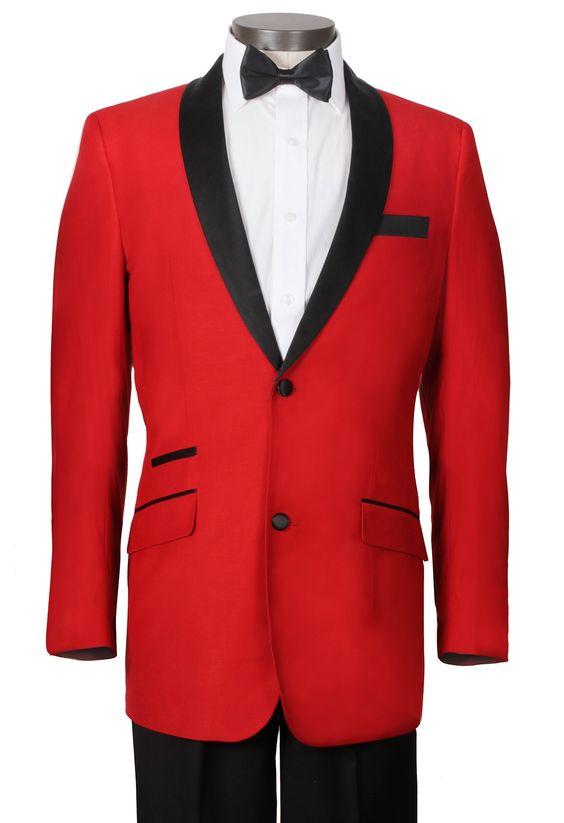 Homme Costume rouge avec noir satin revers cranté Hommes Slim Fit Smokings Marié Tuxedos Garçons D'honneur Costumes De Mariage Pour Hommes (Veste + Pantalon + Cravate)