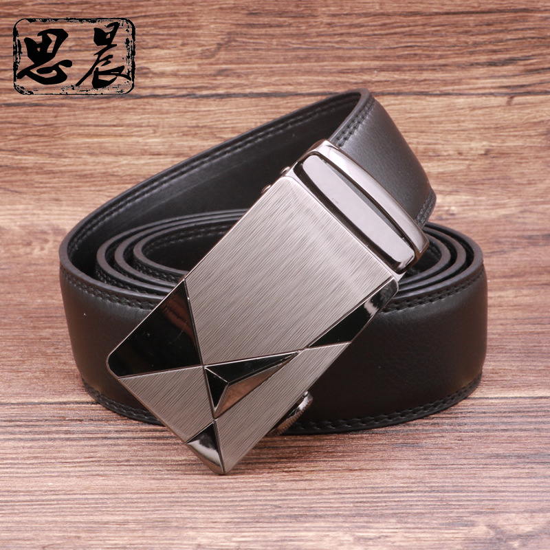 New Arrival Men's   Belts   for Business man Strap Real Leather automatic ratchetable Good quality New Designer Buckles