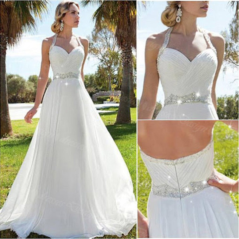 Wedding Dresess: Elegant Beach Wedding Dresses Halter Chiffon Beaded