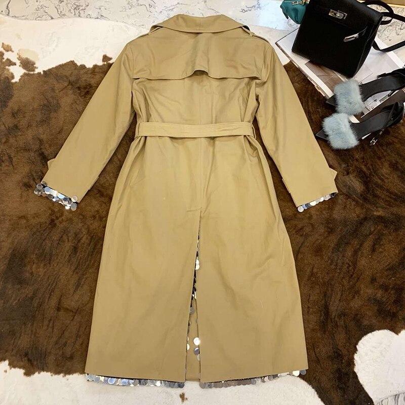 Paillettes Longue Doublure Femmes Avec Fête 2019 coat De Tenue face Trench Mode Outwear Double 1IwqaWPd