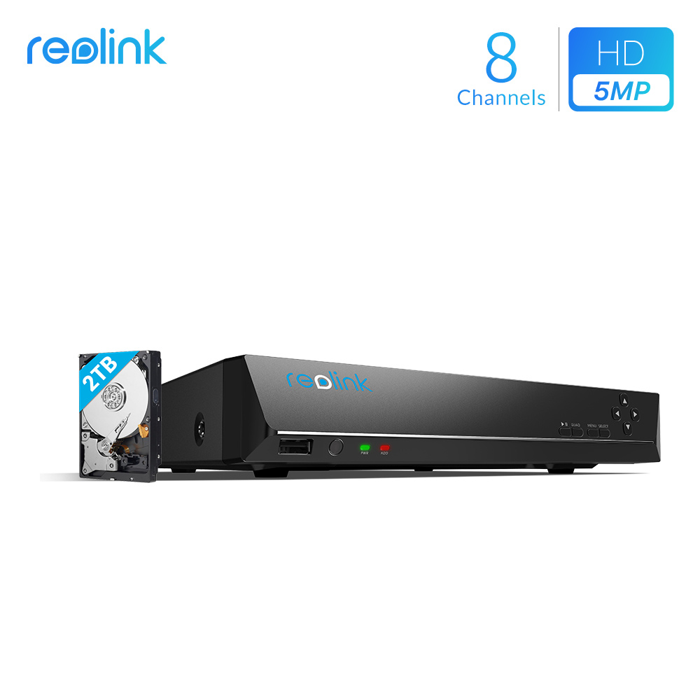 Reolink 8ch 5MP PoE NVR with 2TB HDD ONLY for Reolink HD IP Cameras 24/7 Video Recorder RLN8-410