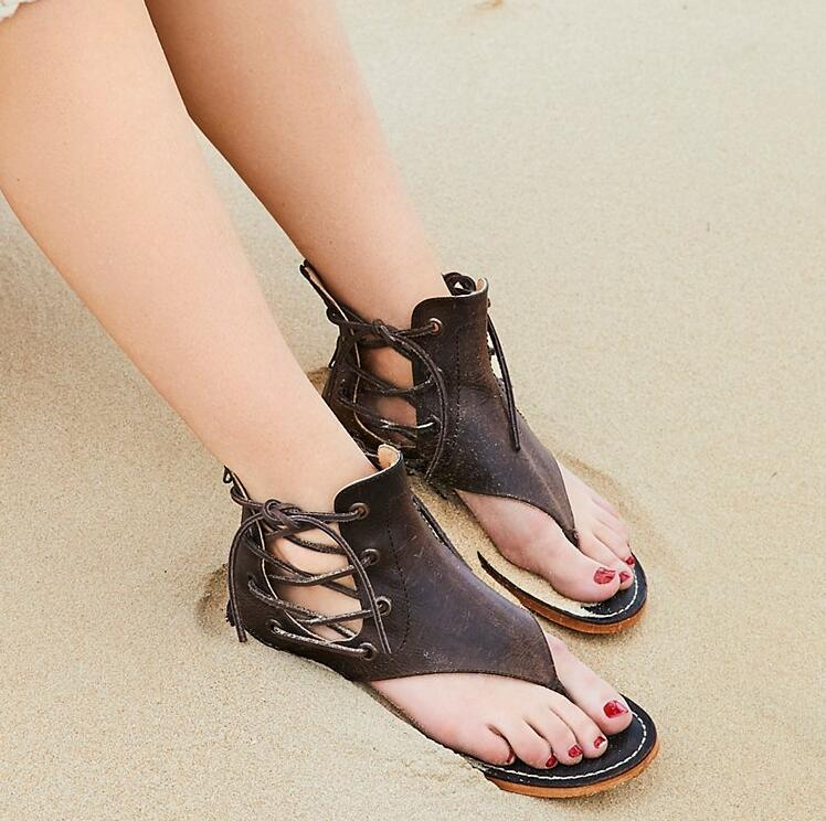 Ankle Lace Up Ladies Flat Sandals Smooth Leather Women Fashion Clip Toe Sandals Slingback Zipper Free Style Female Dress ShoesAnkle Lace Up Ladies Flat Sandals Smooth Leather Women Fashion Clip Toe Sandals Slingback Zipper Free Style Female Dress Shoes