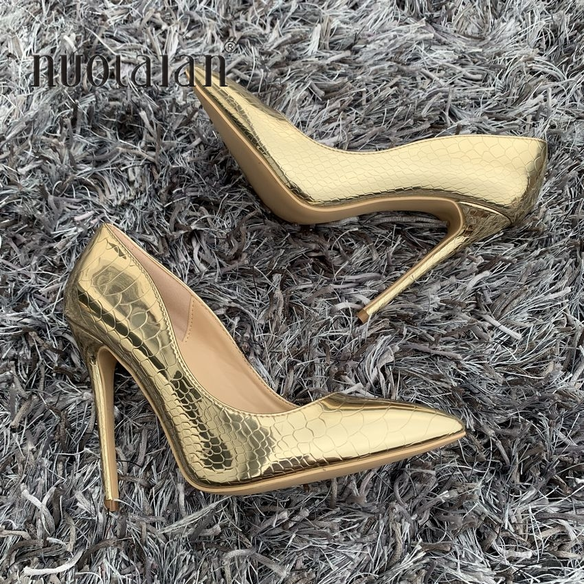 Sexy Women Pumps Gold Snake Printed High Heels Pointed Toe Ladies High Heel Party Wedding Shoes Woman Size 35-42 zapatos mujerSexy Women Pumps Gold Snake Printed High Heels Pointed Toe Ladies High Heel Party Wedding Shoes Woman Size 35-42 zapatos mujer
