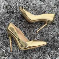 Sexy Women Pumps Gold Snake Printed High Heels Pointed Toe Ladies High Heel Party Wedding Shoes Woman Size 35-42 zapatos mujer