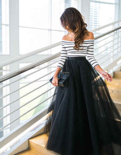 Women Dress Ladies Slack Neck Long Sleeve Party Formal Dress  Prom Ball Gown Mesh Tulle Autumn Sundress