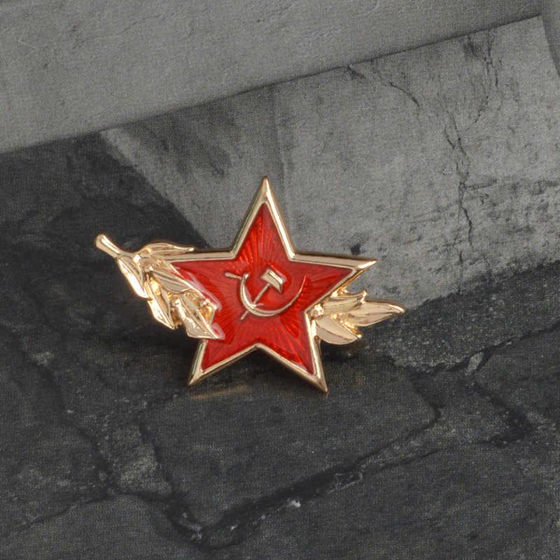 Uni Soviet Simbol Bintang Merah Enamel Bros Pin Denim Pakaian Tas Gesper Lencana Perang Dingin Perhiasan Hadiah untuk Para Penggemar Militer