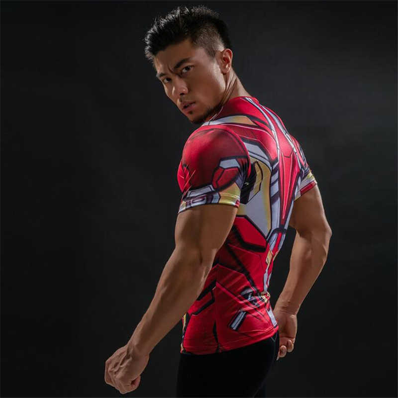 Tunsechy Fashion Brand Amerikaanse Kapitein 3D Digital Printing T-shirt Man Super Hero Superman Fitness Compressie T-shirt