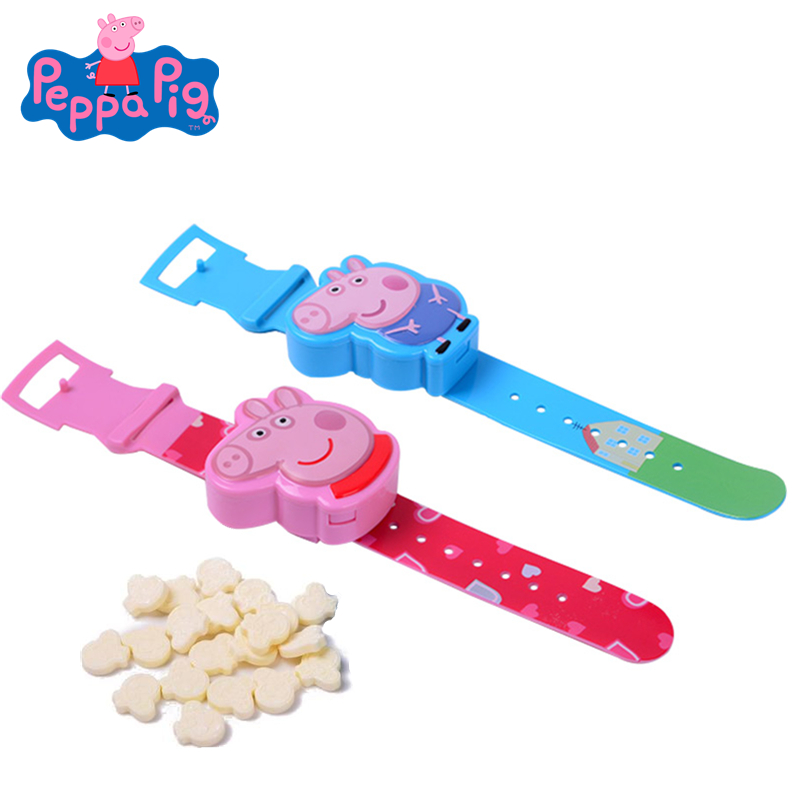 Original Peppa Pig Milk Candy Watch Toy Cartoon Pattern Action Figure Model Milk Candy Snack Girl Children Birthday Gift