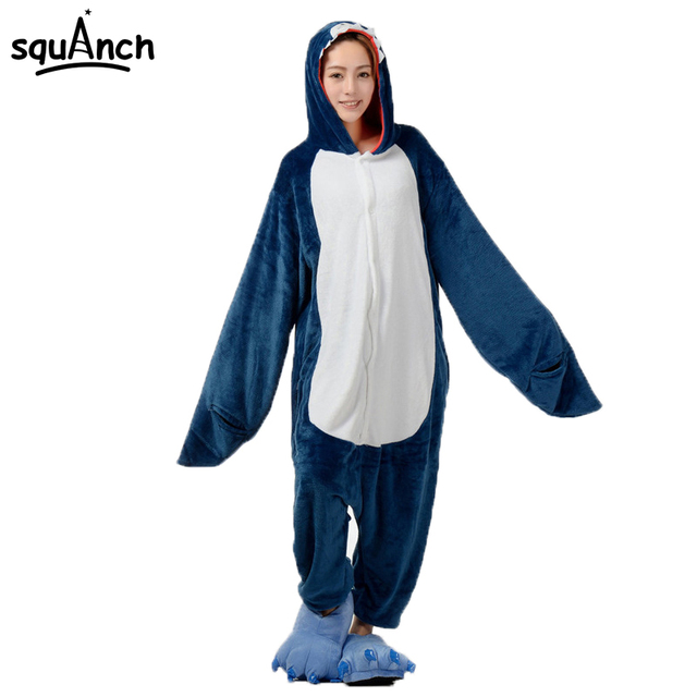 d2d1e55cd236 Adult Shark Onesie Animal Cartoon Fish Pajama Women Men Overall Pyjamas  Dark Blue Party Suit Winter Warm Flannel Soft Sleepwear