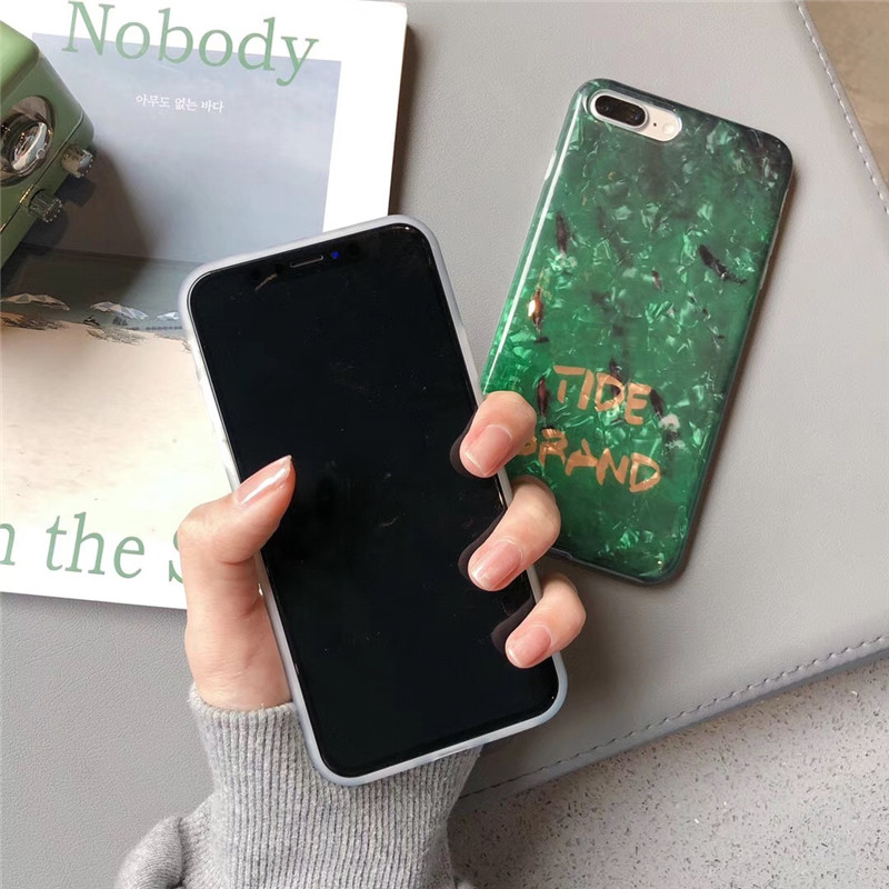 Luxury emerald koi phone case For iphone X 6 6s 7 8plus case fashion TPU soft shell For iphone XS MAX XR protective case in Fitted Cases from Cellphones Telecommunications