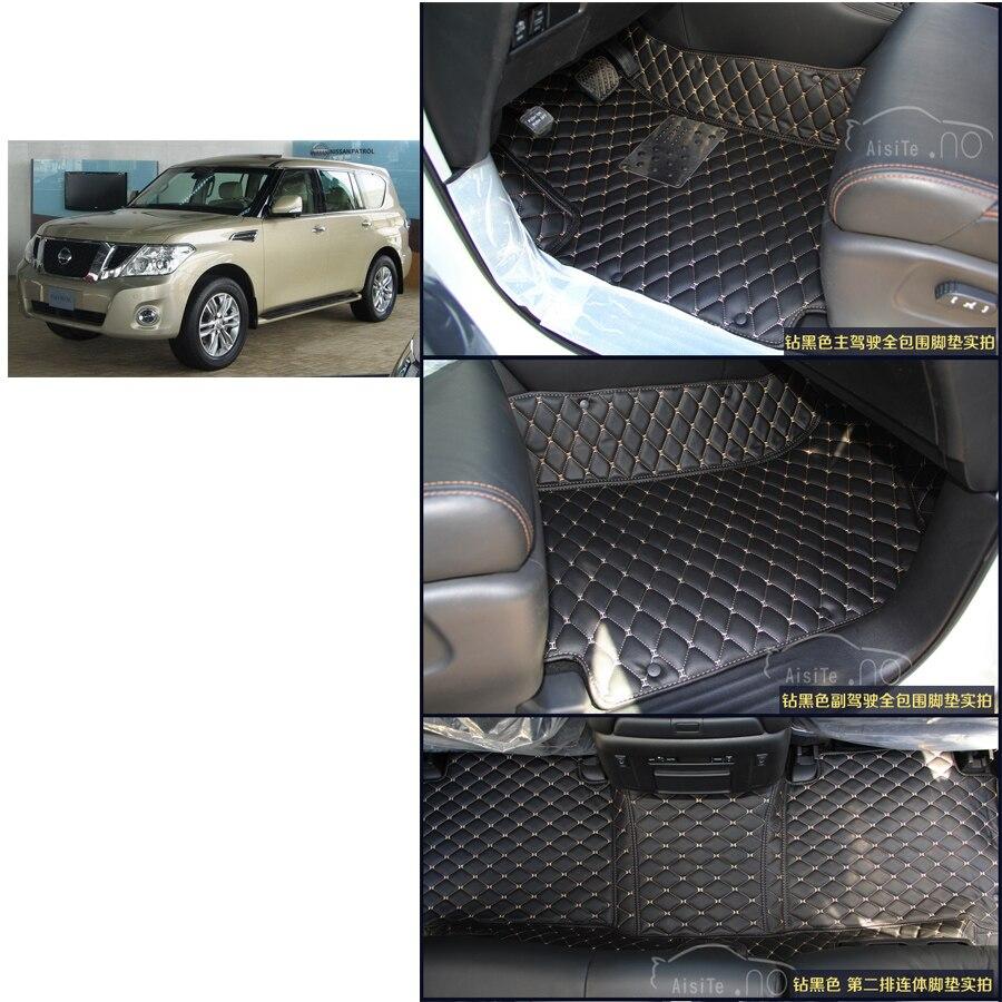 free shipping waterproof car floor mat for nissan patrol y62 nissan Nissan Armada Y62 6th generation 2010-2017 3 rows mat