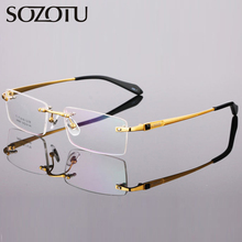 Pure Titanium Spectacle Frame Men Eyeglasses Rimless Myopia Computer Optical Clear Lens Eye Glasses For Male Eyewear YQ269