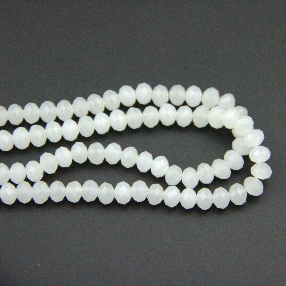 En gros 8X10mm 720-2880 pièces blanc opale cristal boule de verre Rondelles boule perles chine artisanat matériel pour la décoration de la maison