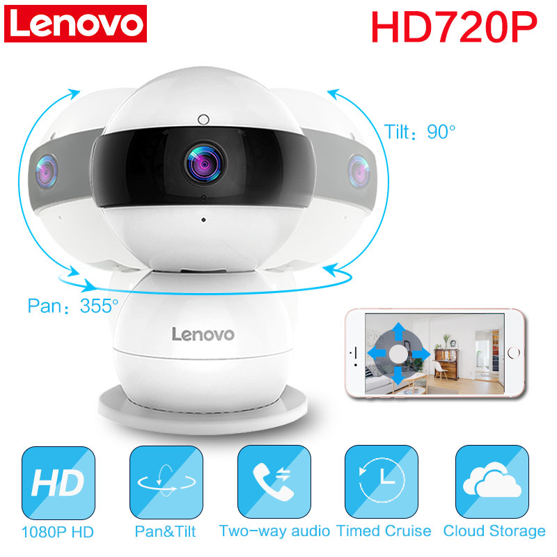 Lenovo WiFi smart IP Camera Snowman R Wireless HD 720P Video cctv security Surveillance pan tilt zoom remote watch baby