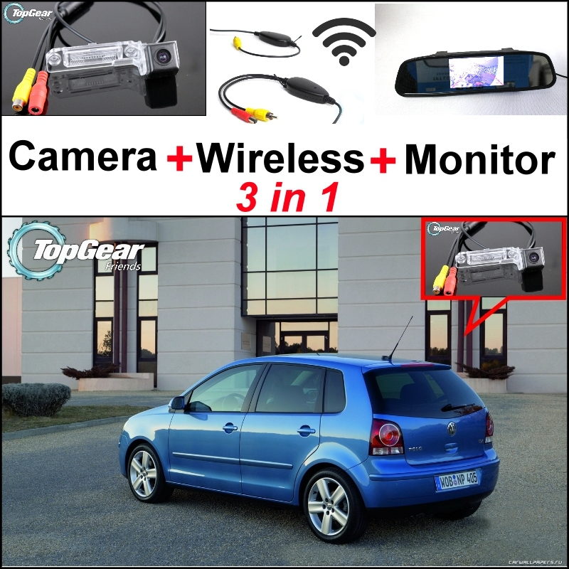 ФОТО 3 in1 Special Rear View Camera + Wireless Receiver + Mirror Monitor Easy DIY Parking System For Volkswagen VW Polo MK4 Polo Vivo