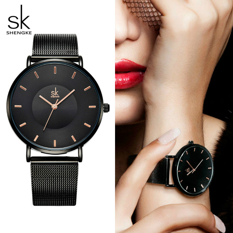 Shengke Watch Women Black Fashion Watches Brand Luxury Ultra Thin Quartz Wristwatch Ladies Women Clock Montre Femme SK 2018 Gift ultra luxury 2 3 5 modes german motor watch winder white color wooden black pu leater inside automatic watch winder