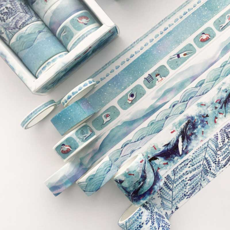 8 Pcs/box Blue Whale Ocean Washi Tape Set For Decoration Journal DIY Scrapbooking Kawaii Sticker Label Masking Adhesive Tape