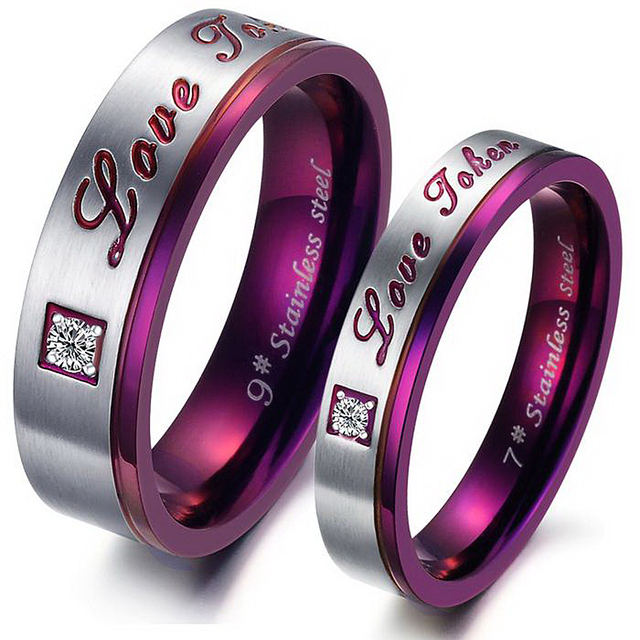 Love Token His and Her Lovers Ring Anniversary Gift Titanium Steel