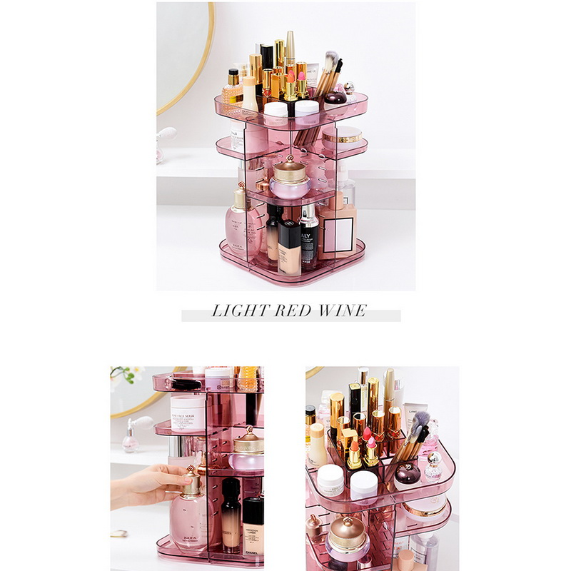 Image 4 - 1PC Fashion 360 degree Rotating Makeup Organizer Box Brush Holder Jewelry Organizer Case Jewelry Makeup Cosmetic Storage Box-in Storage Boxes & Bins from Home & Garden