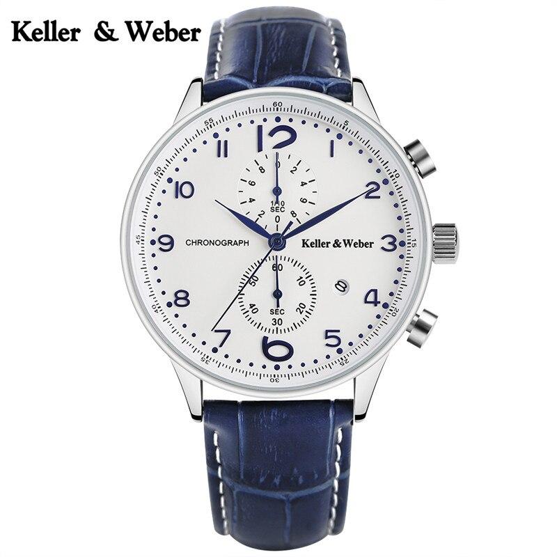 Keller & Weber High Quality Sport Men Quartz Wristwatch Functional Chronograph Design Dial Military Casual Fashion Male Watch электрокастрюля keller up