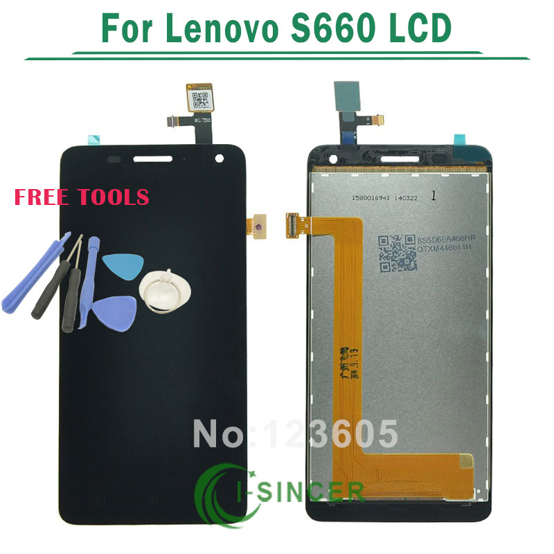 1/PCS 100% Guarantee LCD Display With Touch Screen Digitizer Assembly For Lenovo S660 Black +Tools Free Shipping