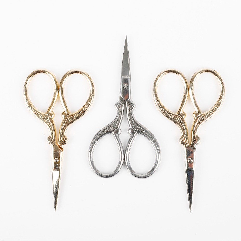 Tailor Sewing Embroidery Scissors Stainless Steel Cutter Craft Gifts Gold Silver