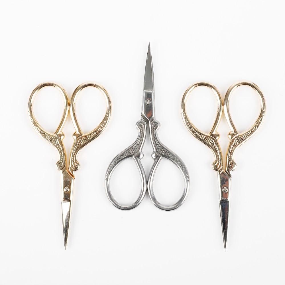 1pc estilo europeu tesoura de costura aço inoxidável ouro alfaiate scissor para bordado bordado ferramentas costura doméstica
