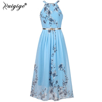Ruiyige Floral Print Halter Chiffon Long Dress Women Ties Up At The Back 2017 Boho Maxi